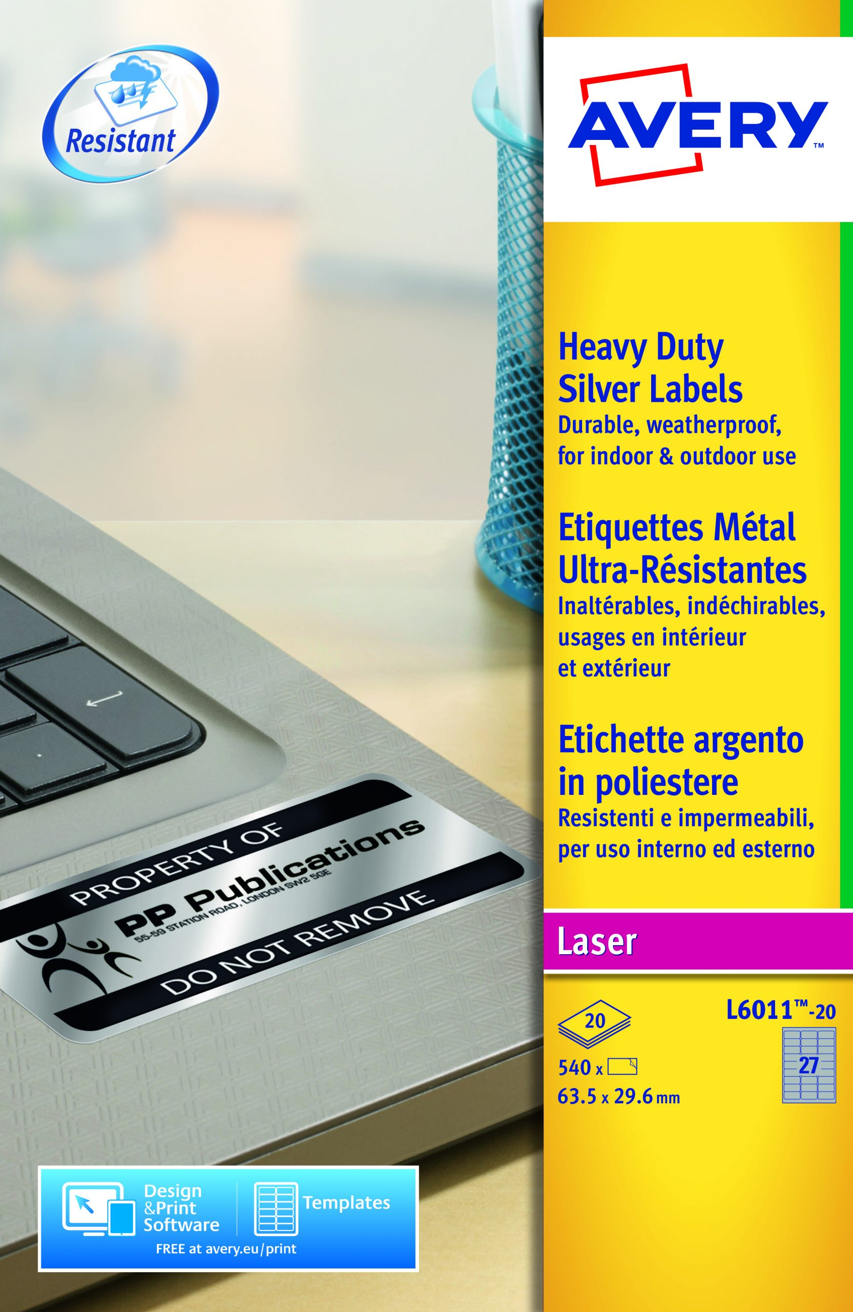 Avery Hd Label 63 5x29 6mm Silver L6011 20 27 P Sheet Pk540 Armarox Com
